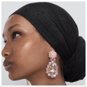 NWT. Zara Light Pink Glass Drop Earrings.